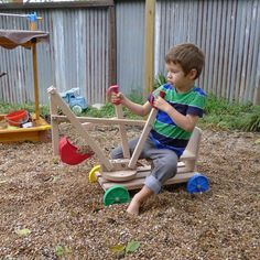Little ones will love digging around in the sandbox or rocks in the yard on this delicately crafted excavator set made of natural Austrian hardwood beech. Wooden Projects, Projects For Kids, Diy For Kids, Wood Crafts, Woodworking For Kids, Woodworking Toys, Woodworking Projects, Wood Toys Plans, Wood Games