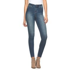 Women's Jennifer Lopez High-Rise Skinny Jeans, Size: 10 Avg/Reg, Dark Blue