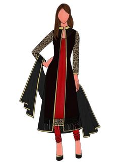 High Risk Red Dupion Silk Churidar Suit With Jacket