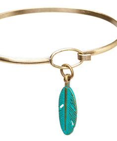 Teal Feather Charm Bangle Bracelet  16.99 from the gleeful peacock