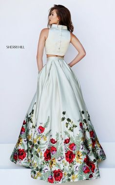 2016 Two Piece Floral Print Sherri Hill 50270 Prom Dress