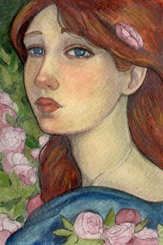 "Original 4""x6"" watercolour art...The Lady in the Rose Garden"