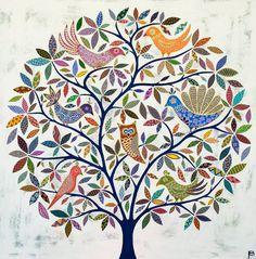 exotic-bird-tree by eliza piro Folk Art Flowers, Flower Art, Kalamkari Painting, Frida Art, Exotic Art, Exotic Birds, Colorful Birds, African Art Paintings, Madhubani Art