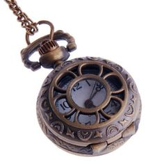 Ladies Quartz Pocket Pendant Watch With Chain Small Face White Dial Arabic Numerals Vintage Necklace Flower-Web Design PW-57 ShoppeWatch. $22.00. Bronze Case Ladies Style with Small Face. Case Diameter is 1 inch (Approx the size of a Quarter dollar). Length of the Chain is 32 inches. Can be worn like a Necklace with a Pendant