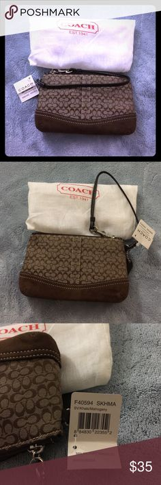 NWT Coach Khaki Brown Mini Signature Wristlet NWT Coach Khaki Mini Signature Wristlet.  Mini Signature fabric with suede bottom.  Originally from the Coach Factory store - received as a gift (tag is cut where price was but otherwise tag intact).  Comes with dustbag.  Never used and kept in my Coach bin in the closet - someone should enjoy this other than my closet 😜 Coach Bags Clutches & Wristlets
