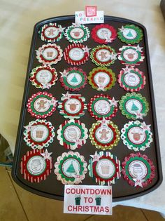 Advent calendar. I used a mini muffin tin as the base for the calendar. The daily images were stamped using the Deer Friends stamp set from Stampin Up.  Each day is numbered with My Digital Studio and the small star punch from Stampin up.
