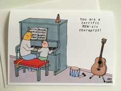 A thank you card for your childs music therapist, illustrated by New Yorker cartoonist Amy Hwang.  Image: Music therapist cat at piano with music