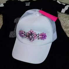 NWT Betsey Johnson ball cap hat w/ embellishments White with pink & rhinestone design. Adjustable Betsey Johnson Accessories Hats