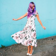 FLORAL DRESS || @chanroberson || purple hair, Floral, spring outfit, spring dress, spring style Manic Panic, eshakti.