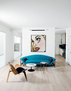 They collaborated on the project with investor and landowner Holden Shannon whose own home on the Row was outfitted by designer Barbara Hill with vintage furniture like a turquoise sofa and pair of mid-century side tables from Houston's Reeves Antiques. Home Interior, Interior Architecture, Interior Design, Simple Interior, Modern Interior, Living Room Art, Living Spaces, Sofa Skandinavisch, Turquoise Sofa