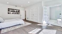 Glass Subway Tile Backsplash, Hardwood Floors, Flooring, Custom Kitchen Cabinets, Quartz Countertops, Home Renovation, Craftsman, Luxury, Bed