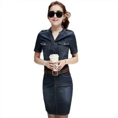 Casual Work Office Denim Dress