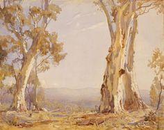 Hans Heysen - Silver and Grey 1910 Australian Painting, Australian Artists, Fantasy Paintings, Landscape Paintings, Tree Paintings, Landscapes, Watercolor Paintings, Watercolour, Art Tutorials