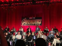 """""""All of the actors at the @Avengers #InfinityWar press conference (minus Chris Evans), which was emceed by Jeff Goldblum. #AvengersInfinityWar #InfinityWarEvent"""" (https://twitter.com/markhdaniell/status/988175369877401600 ) #TomHiddleston #Loki #InfinityWar"""