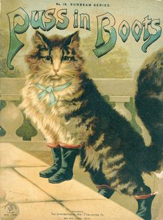 Cats in Art, Illustration, Photography, Design and Decorative Arts: Puss in boots - c. 1880