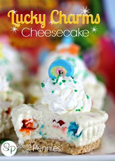 """Lucky Charms Cheesecake (No Bake)!  It's like having """"Cereal Milk"""" cheesecake!"""
