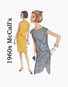 Vintage 1960s Sewing Pattern - McCall's 7782 - Misses Two-Piece Dress with Front V Seaming & Cap Sleeves - Size 14 Bust 34  - 1960s Fashion by EightMileVintageSews on Etsy