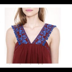 "J. Crew Embroidered Pom-Pom Tank – 2 - NWT J. Crew Embroidered Pom-Pom Tank – DETAILS: Retail $98 – Size: 2 (Bust 33.5"") – Color: Burnt Crimson BCR – From the J.Crew archives - a summer classic - an airy, lightweight cotton lawn top trimmed with floral embroidery and pom-poms. – DETAILS: Retail $98 – Size: 0 (32.5"" Bust) – Color: Burnt Crimson – Body Length: 27"" – Cotton - Back slit with button closure – Lined - Dry clean – Import – Brand New with Tags J. Crew Tops"
