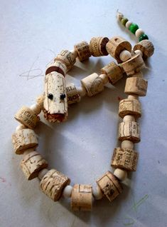 Make a snake from corks- fun toy and craft for kids