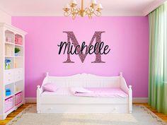 Pink Cheetah Monogram Name Girls Room Vinyl Wall by StickerHog, $36.99 (w/ cheetah print)