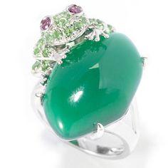 Gem Treasures Sterling Silver 20 x 14mm Green Agate & Multi Gem Frog Ring