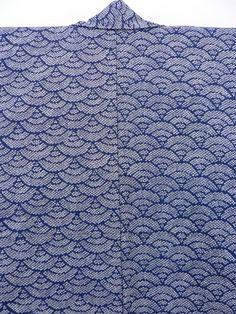 Navy Komon, Dyed Seikaiha Pattern / 紺地 染鹿の子の青海波柄 化繊小紋 【リサイクル着物・アンティーク着物・帯の専門店 あい山本屋】#Kimono #Japan