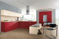 Cuisine en U rouge, avec assise banquette, suréquipée AvivA http://www.cuisines-aviva.com/