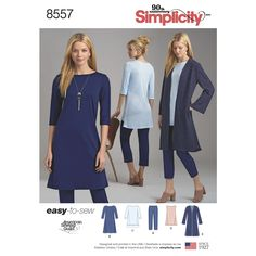Sewing Pattern Cropped Pants and Tunic Top Pattern, Easy Tunic Dress Pattern, Open Front Duster Pattern, Simplicity Sewing Pattern 8557 by on Etsy Tunic Dress Patterns, Tunic Pattern, Coat Patterns, Clothing Patterns, Jumpsuit Pattern, Vogue Patterns, Jacket Pattern, Women's Clothing, Patron Simplicity