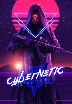 ArtStation - Cybernetic Neon Army, Roberto Esparza cyberpunk neon hooded snyper soldier concept art character design art inspiration ideas