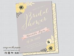 Chic Yellow and Grey Bridal Shower Invitation - More Colors Available - Digital or Printed. $15.00, via Etsy.