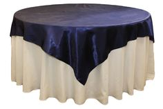 "Square 72"" Satin Table Overlay - Navy Blue"