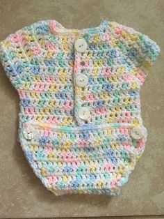 Baby Crochet Onesie Measures laying flat: 6 across chest 9 long from shoulder to crotch Materials: yarn croc. Baby Crochet Onesie Measures laying flat: 6 across chest 9 long from shoulder to crotch Materials: yarn croc. Crochet Onesie, Crochet Baby Sweaters, Preemie Crochet, Crochet Baby Shoes, Newborn Crochet, Free Crochet, Booties Crochet, Crochet Hats, Vestidos Bebe Crochet