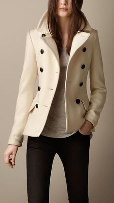 Wool Cashmere Pea Coat | Burberry Visit http://www.fashioncraycray.xyz/ for beautiful clothes right now.