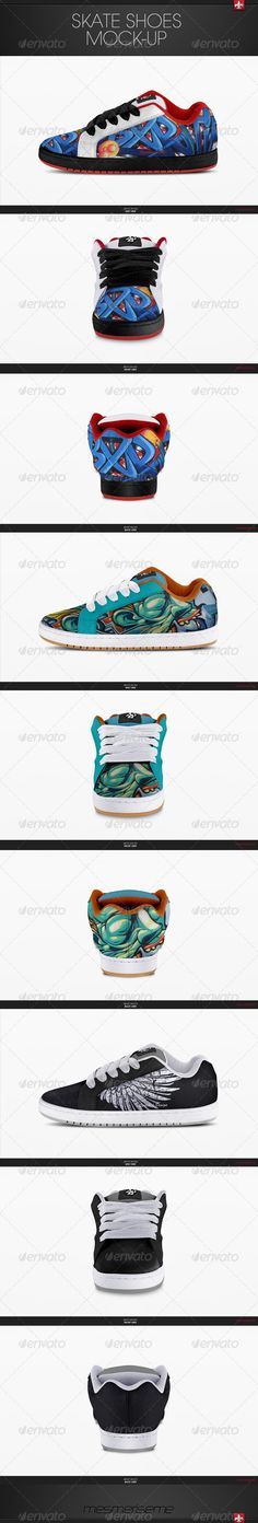 Skate Shoes Mock-up  #GraphicRiver         Skate Shoes Mock-up   3 psd files 2300×1400 px 72 dpi;  3 views: side, front and back;  You can choose between 3 color modes of material: bright colors, hue colors and dark colors and pick your own color or design on material;  You can put your own design using smart objects on each view;  You can add your own stitched layer for example: logotype, text, domain etc using smart object layer with special layer style;  You can design your own tag (smart…