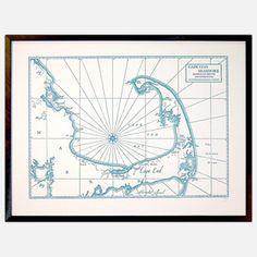 Cape Cod Bay and Seashore, Letterpress Map Art Print (Nautical Blue) Cape Cod Map, Cape Cod Massachusetts, Area Map, Area Rugs, Letterpress Printing, Map Art, Vintage World Maps, How To Draw Hands, Art Prints
