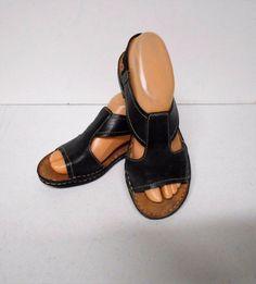 Naturalizer Black Leather Open Toe Flat Sandal Ladies Size M Ringo 9009 Open Toe Flats, Flat Sandals, Clogs, Black Leather, Lady, Casual, Fashion, Clog Sandals, Moda