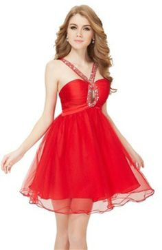 Jewel Neckline Drilled Bubble Red Homecoming Dress