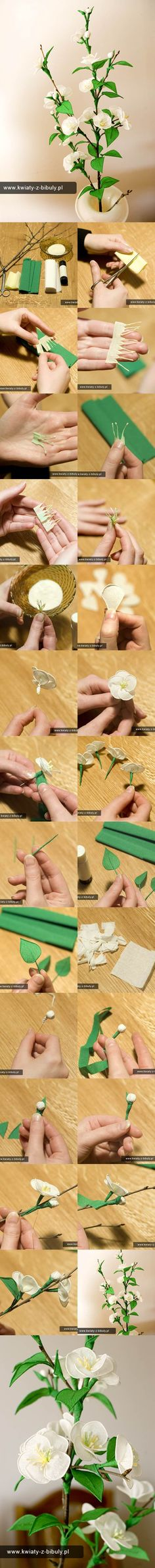 DIY Delicate Crepe Paper Cherry Blossom Sprig www. Fake Flowers, Diy Flowers, Fabric Flowers, Flower Crafts, Flower Art, Blossom Flower, Diy Paper, Paper Crafts, Fleurs Diy