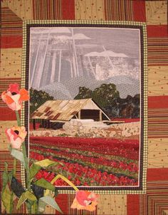 Barn with Red TulipsAn old barn sits in a filed of red tulips under a stormy sky. A trio of three dimensional tulips decorate the lower left edge of the border. Laura Fogg