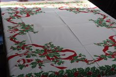 Fab Vintage Cotton Christmas Tablecloth 50x60 Holly Berries and Bells!