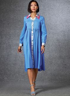 Dress is semi-fitted through bust, has contrast bands, raised waist, gathered skirt (cut crosswise grain) and shaped hem with side slits. Optional: self-fabric selvage trim. Vogue Sewing Patterns, Miss Dress, Gathered Skirt, Dress With Bow, Dress Patterns, Clothing Patterns, Women's Clothing, Day Dresses, Shirt Dress