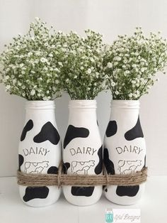 Excited to share this item from my shop: Cow Print Milk Bottles. Rustic Home Decor. Country Farmhouse Decor, Farmhouse Kitchen Decor, Rustic Decor, Cow Kitchen Decor, Cow Decor, Kitchen Sink, Cow Birthday Parties, Cow Craft, Wedding Bottles