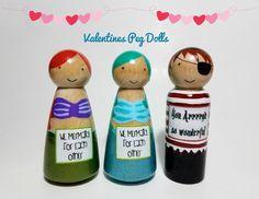 Sirena o pirata de San Valentín Peg Doll mensaje divertido de