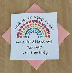 Rainbow Teacher Thank You Card Personalised Teacher | Etsy