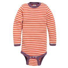 Langermet body, ull/silke: Body med ståkrage og lange ermer. 70% merinoull, 30% silke. fra Nøstebarn. Baby Barn