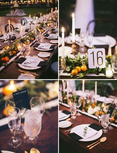 orange inspired tablescape (but use white mini pumpkins instead of oranges)