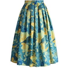 Chicwish Floral Affection Printed Midi Skirt (€38) ❤ liked on Polyvore featuring skirts, blue, pleated midi skirt, blue midi skirts, calf length skirts, floral midi skirt and structured skirt