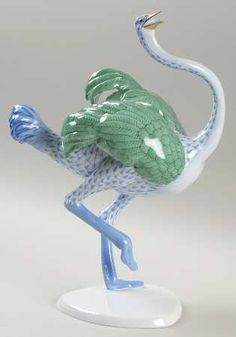 Herend Hand Painted Porcelain Ostrich in Light Blue Fishnet Design w/Green Wings and Gold Accents.