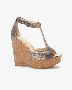 Jimmy Choo Cork Wedge Embossed Sandal- Available In Store Only
