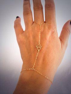 Seriously sexy!  So dainty and elegant  14k Gold Hamsa Slave Bracelet on Etsy, $36.00